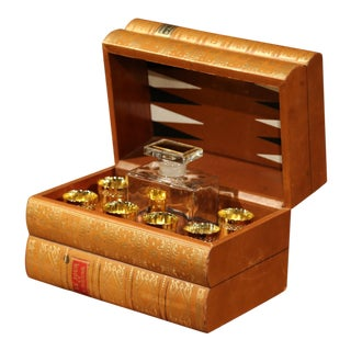 Mid-20th Century French Cave À Liqueur Leather Book with Shot Glasses and Carafe For Sale