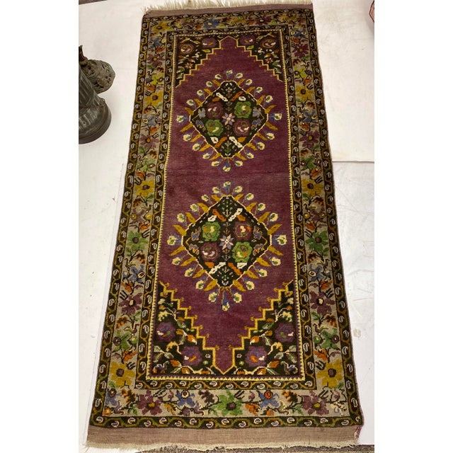 Tehranian Hand Woven Purple Floral Wool Rug For Sale In Atlanta - Image 6 of 9