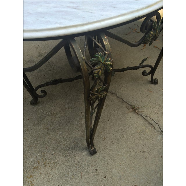 Solid Marble Top Beveled Wrought Iron Table - Image 4 of 10