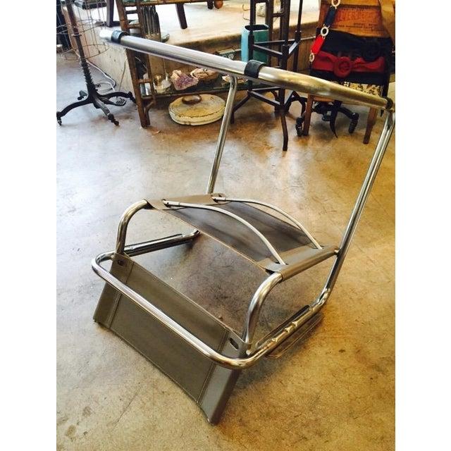 Italian Smoky Grey Leather Sling Chrome Chair - Image 9 of 10