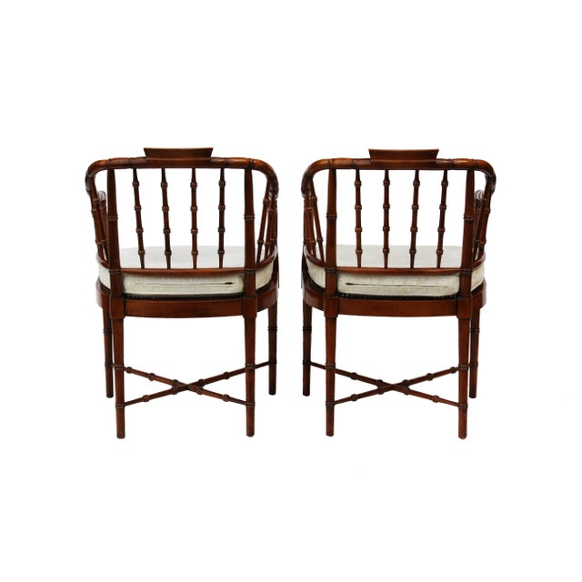Hekman Faux Bamboo Chippendale Style Armchairs - a Pair For Sale - Image 9 of 10