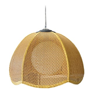 Vintage Late 20th Century Wicker Scalloped Pendent Ceiling Light For Sale