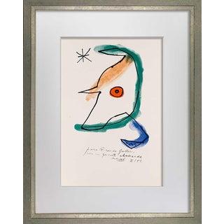 "1950s Joan Miro Original Lithograph, Signed & Inscribed ""Ricardo Gullon"" For Sale"