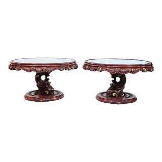 Vintage Mid Century Modern Mediterranean Style Carved Wood Glass Top End Tables For Sale