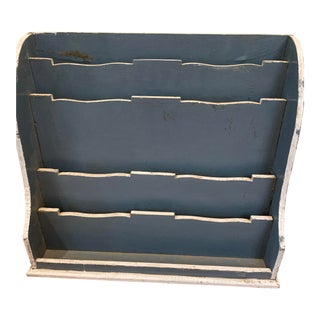 Blue Painted Wood Stationery Box For Sale