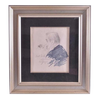 "1970s Vintage LeRoy Neiman Original ""Caricature of Curt Gowdy"" Drawing For Sale"