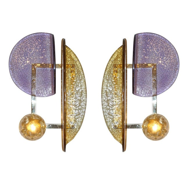 Pair of Murano Glass Geometric Sconces by Fabio Ltd For Sale - Image 13 of 13