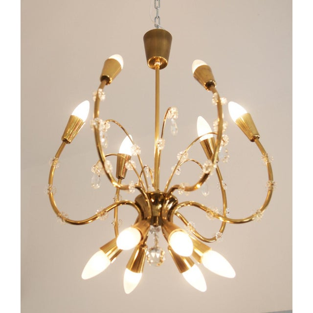 Mid-Century Brass Chandelier by Emil Stehnar for Rupert Nikoll For Sale - Image 6 of 8