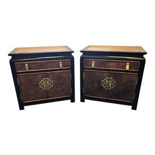 Chin Hua Collection by Century Furniture Black Lacquer and Burl Wood Nightstands- a Pair For Sale