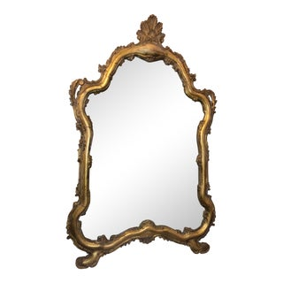 Antique French Louis XV Cartouche Giltwood Mirror For Sale