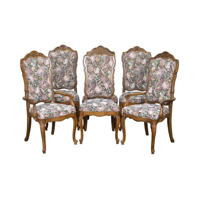 Thomasville Vintage French Louis XV Style Set of 6 Dining Chairs For Sale