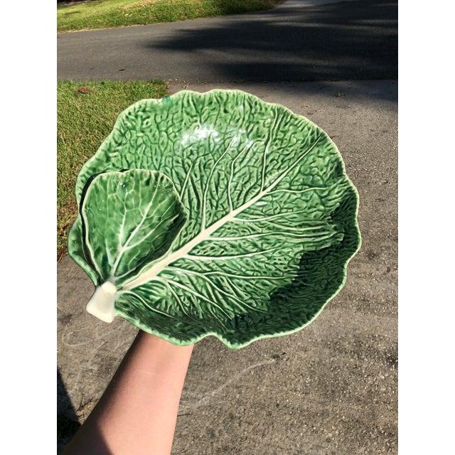 1980s Vintage Majolica Cabbage Leaf Serving Platter For Sale - Image 5 of 5