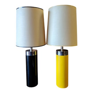 Vintage 1970's Pair of Table Lamps (One Yellow, One Black) With Chrome Band