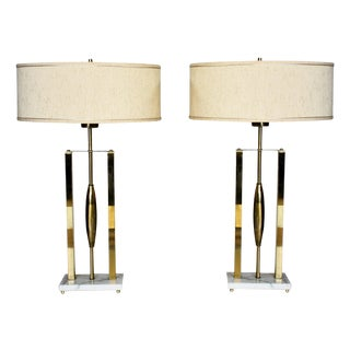 Vintage Brass & Marble Lamps - a Pair For Sale
