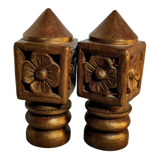 Late 20th Century Vintage Hand Carved Finials - a Pair For Sale