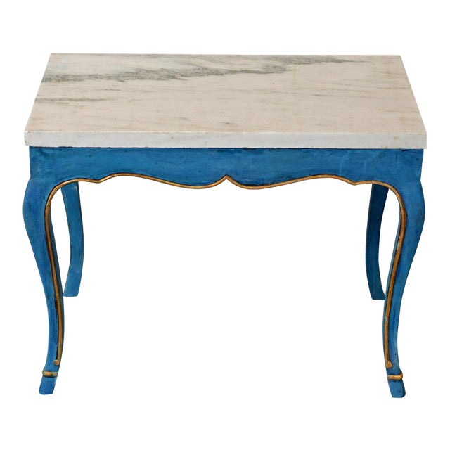 Italian Marble Top Cocktail Table in the Louis XV Style Having Hoof Feet For Sale