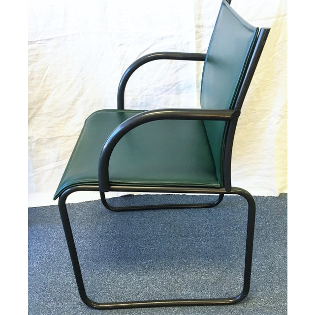 Knoll Vintage Richard Schultz for Knoll Dark Green Leather Chairs - Set of 4 For Sale - Image 4 of 6
