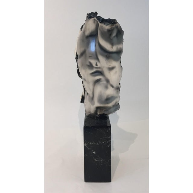1970s Male Torso Sculpture by Zanfeld Taxco 999 Silver-Plate Black Marble For Sale - Image 5 of 9