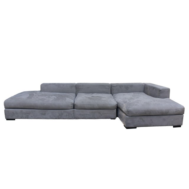 "Contemporary Danish BoConcept's ""Cenova"" Gray 3 Piece Sectional Sofa With Chaise Lounge For Sale - Image 3 of 7"