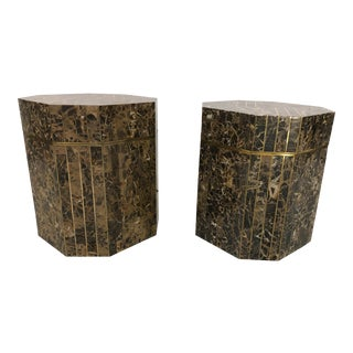 Maitland Smith Decorative Tessellated Marble & Brass End Tables - a Pair For Sale