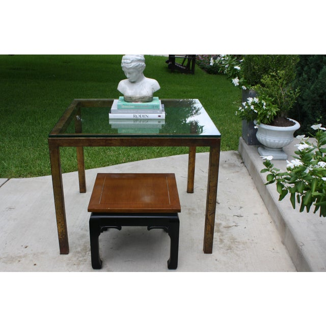 Vintage Modernist Gilt Metal Parsons Table with Thick Glass Top - Image 10 of 10