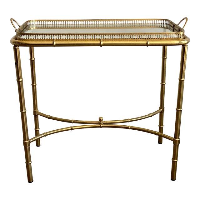 Vintage Brass Mirror Framed Glass Side Table For Sale