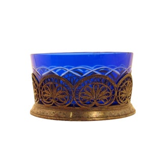 Antique Silver Plate Filigree Bowl With Cobalt Blue Cut-To-Clear Glass Liner For Sale