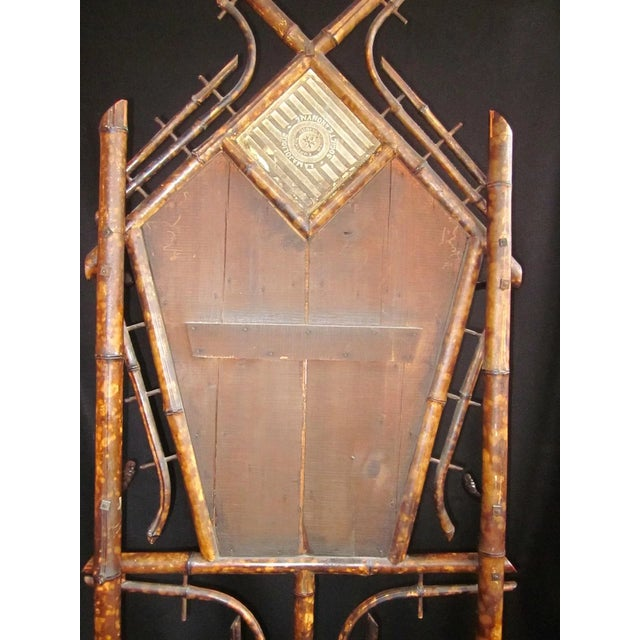 19th Century Art Nouveau Bamboo Woven Back Hall Tree With Beveled Shield Mirror and Nouveau Lamajolique - Societe Anonyme Tile For Sale - Image 4 of 9