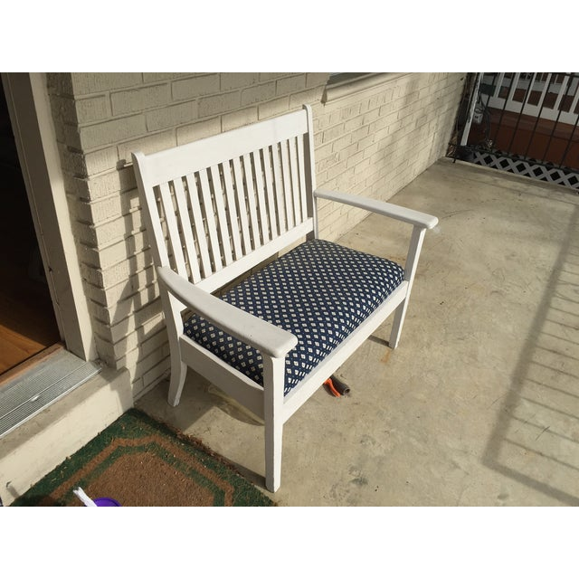 Mission-Style White & Navy Bench - Image 2 of 6
