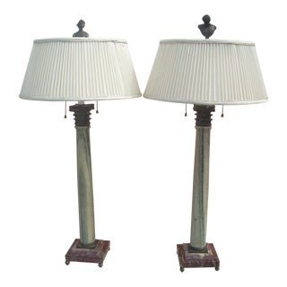 Classical Marble Lamps - a Pair For Sale