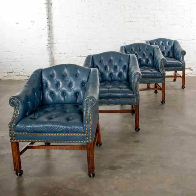 Blue Vinyl Faux Leather Chinese Chippendale Tub Style Rolling Game Chairs Set of Four For Sale - Image 6 of 13