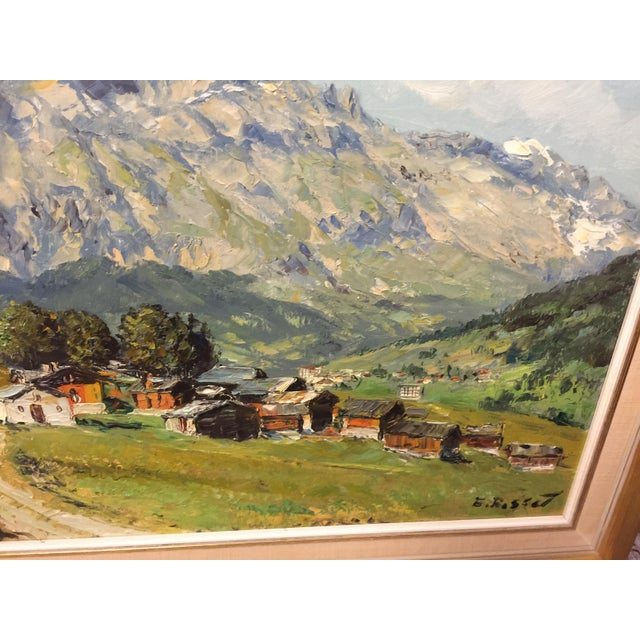 The School of Paris Village Mountain Scene Oil Painting Signed E Rosset For Sale - Image 3 of 10
