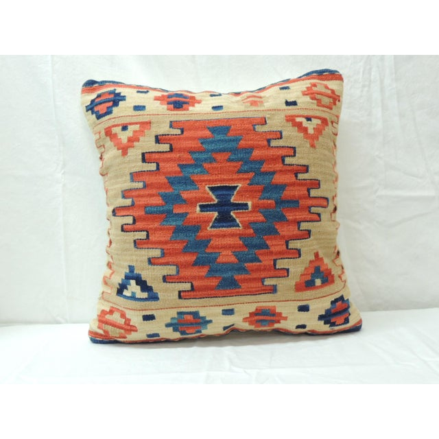 Vintage Orange and Blue Kilim Decorative Pillow For Sale In Miami - Image 6 of 6