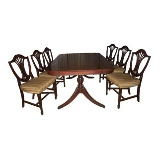 Duncan Phyfe Style Double Pedestal Dining Set With 6 Chairs For Sale