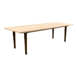 Mid-Century Hollywood Coffee Table With Travertine Top For Sale