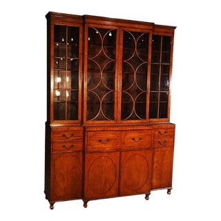 Satinwood English Regency Baker Breakfront Bookcase With Desk For Sale