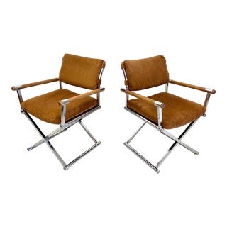 1970s Milo Baughman for Cal-Style Wood and Chrome Director's Chairs - a Pair For Sale