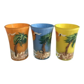 Vintage Hand Decorated and Signed Shot Glasses - Set of 3