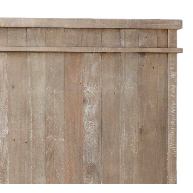 Washed reclaimed pine with grey and warm sanded finish and modern simple detail in queen size. Each has variations in...