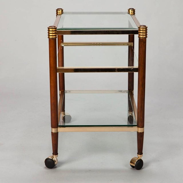 Brass Mid-Century Italian Brass Glass and Polished Wood Trolley Table or Bar Cart For Sale - Image 7 of 8