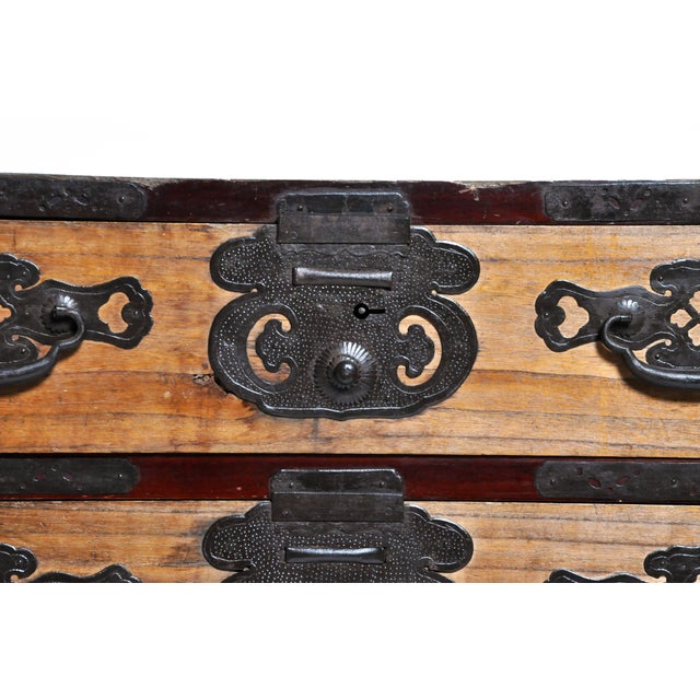 Japanese Two Pc. Tansu Chest With Hand Forged Hardware For Sale - Image 9 of 13