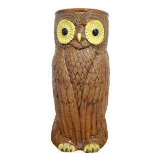 1970's Modern Ceramic Owl Umbrella Stand For Sale