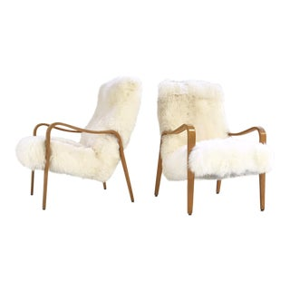 Vintage Thonet Bentwood Lounge Chairs Restored in New Zealand Sheepskin - Pair