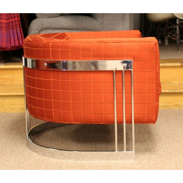 1980s Mid Century Modern Flair Chrome Wrapped Sofa 4 Chairs 1980s Baughman Era For Sale - Image 5 of 12