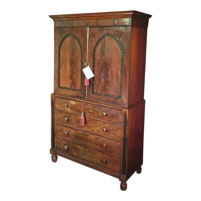 Late 18c Irish Regency Gothic Revival Linen or Vestment Press For Sale