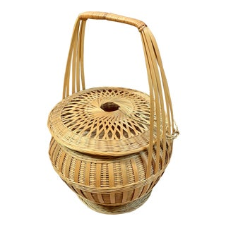 1970s Chinese Bamboo & Rattan Lidded Basket For Sale