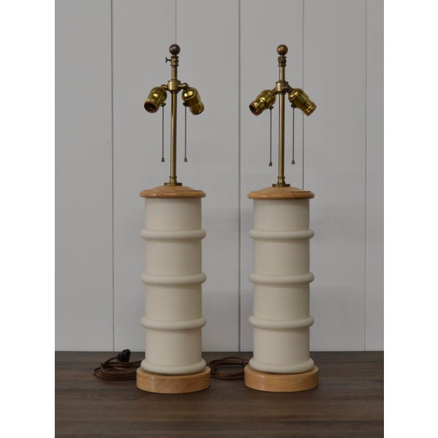 1940s Modernist White Glass & Oak Table Lamps - a Pair For Sale - Image 9 of 9