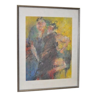 Asian Figural Abstract Pastel Painting For Sale