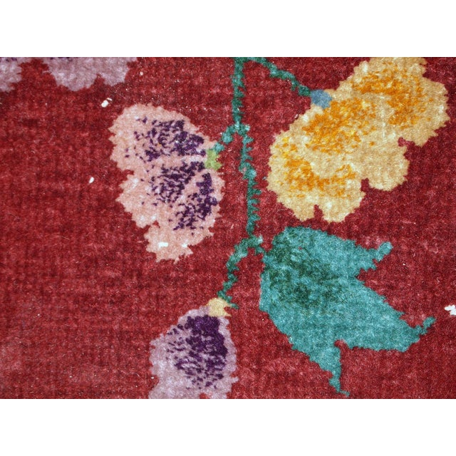 Art Deco 1920s Hand Made Antique Art Deco Chinese Rug - 2′ × 2′10″ For Sale - Image 3 of 10