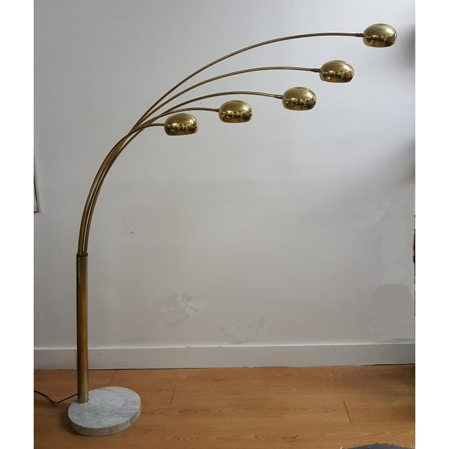 Mid Century Brass Standing 5 Arm Arc Lamp With Marble Base - Image 2 of 7